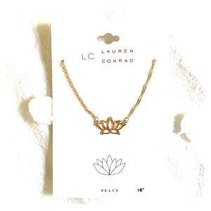 LC Lauren Conrad Gold Lotus Necklace